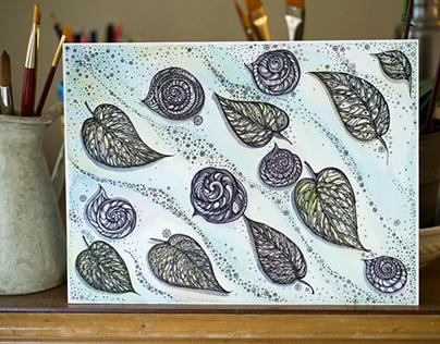 Winter Snails and Leaf