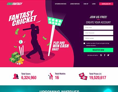 Fantasy Cricket Sports Game Website Mockup