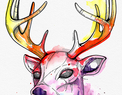 WATERCOLOR Deer Tattoo Design