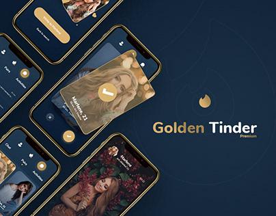 Golden Tinder - Dating App Redesign + Free Xd File