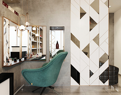 Design of a mirror and a partition wall.