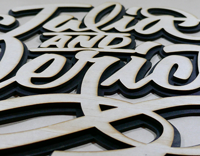 Hand lettering to laser cutting with wood.