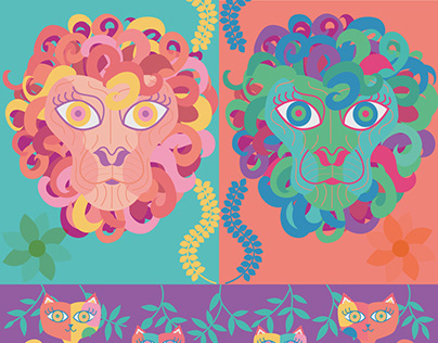 Graphics Lion, Cat and Woman
