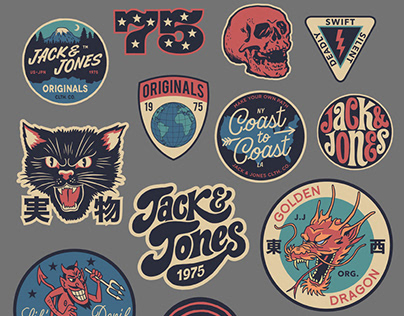 Retro sports graphics and badges