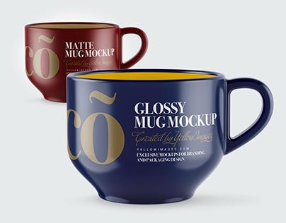 4 Mugs PSD Mockups
