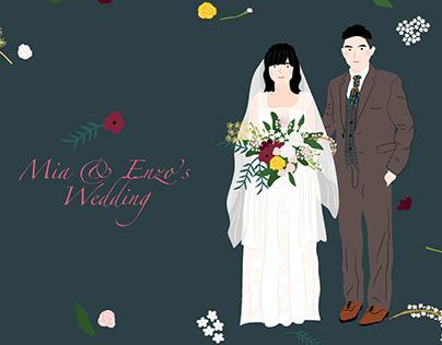 婚禮邀請卡繪製設計| Illustrations for Wedding invitation