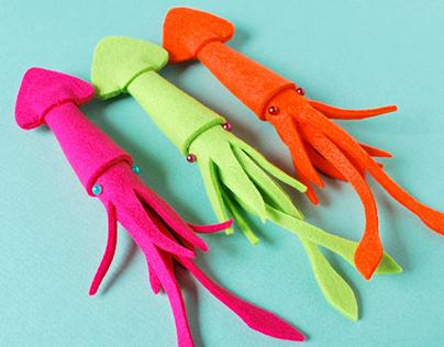 3D Felt Squid Brooches