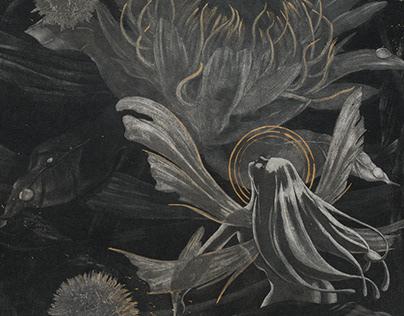 """""""Fairy and King Protea"""" - intaglio"""