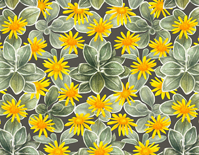 watercolour sunshine flowers pattern