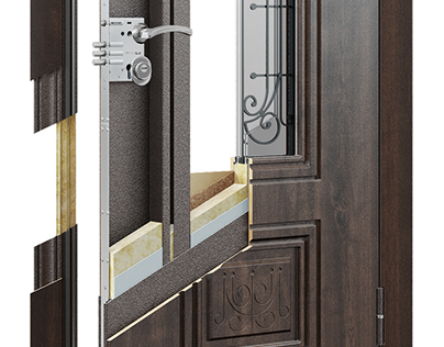 Door 3D sectional drawing