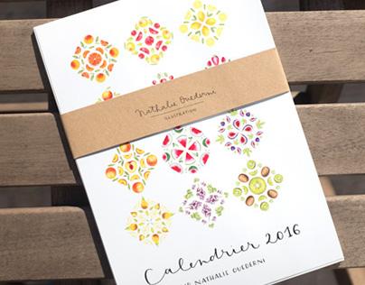 Watercolor Fruit Calendar 2016 - Food illustration