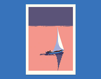 Alone in the Sailboat at Sunset — Illustration
