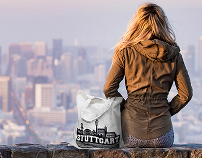 Graphics for eco-bags. Attractions of city Stuttgart.