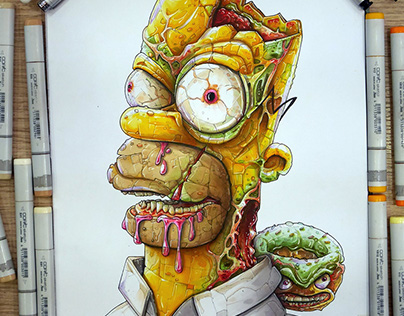 Homer & the zombi donut