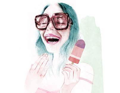 Girl with popsicle