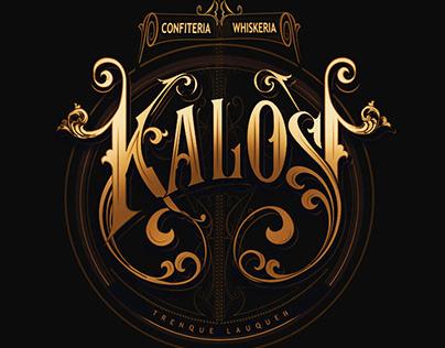 Kalos . Confitería & Whiskería. Versión Lettering