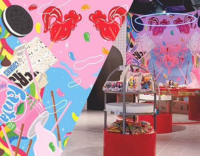Illustration   Mural design for CANDY POP store   OZAS
