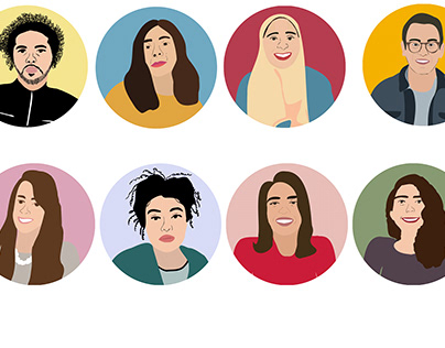 Portrait Illustrations of Egyptian Streets Team