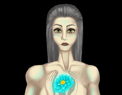 Lady and Glowy Flower