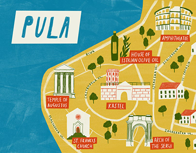 Map of Pula, Croatia