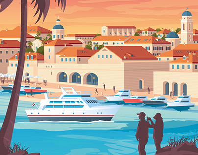 Dubrovnik Croatia Retro Travel Poster City Illustration