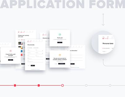 UX/UI design for credit card application form