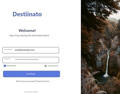 Destiinato - UI Sign in screen project