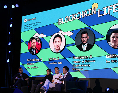 Blockchain Life event concept designs (memeChat)