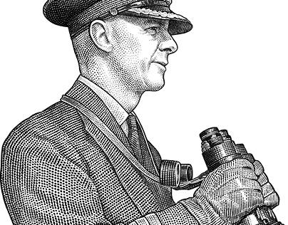 Stipple portrait of admiral Harry DeWolf