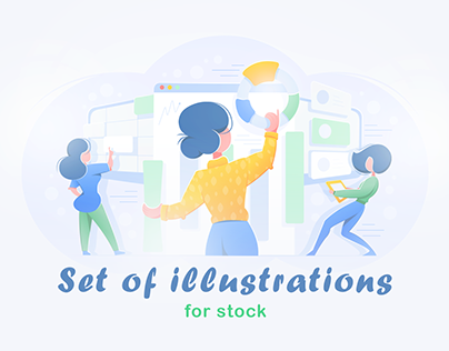 Set of illustrations for stock