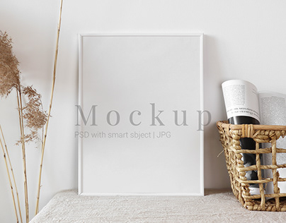 Mockup White Frame With Wicker Basket