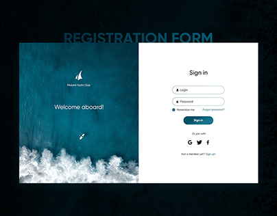 Sign in form for a yacht club website