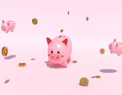c4d pig cartoon