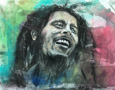 """Bob Marley 18x24"""" Pastel, Canvas • Tucson '17"""