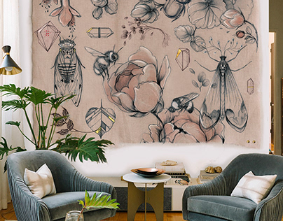Insects & flowers on linen