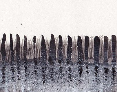 illustration black lands, INK.
