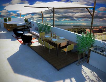 Diseño para remodelación de azotea, edificio familiar