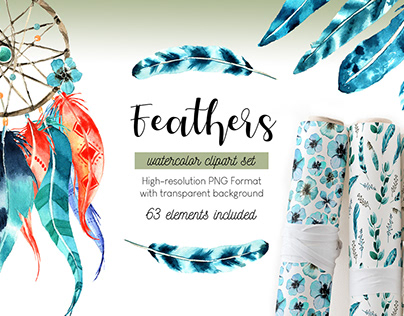 FEATHERS Watercolor clipart set