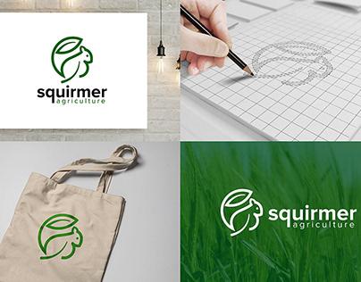 Squirrel With Green Leaf Logo Design