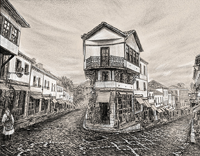 Gjirokastër Albania - Old City Drawing