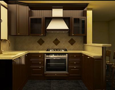 Brown wood kitchen
