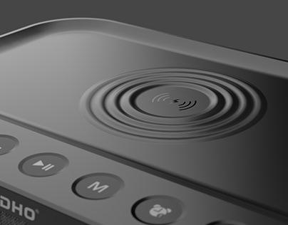 SADHO Wireless Charging Alarm with Bluethooth speaker
