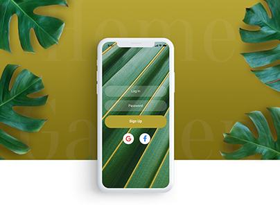 Home garden mobile app concept