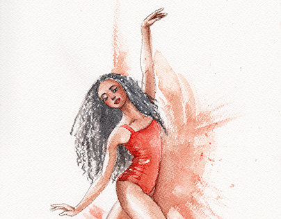 Watercolor painting of a dancer