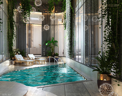 Luxury pool design in Kuwait City