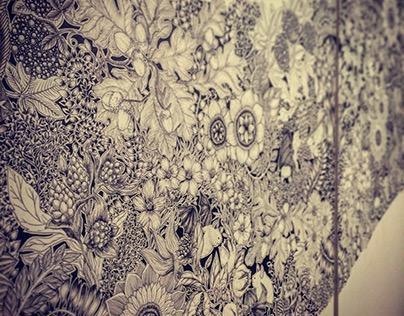 """""""Botanical Wave × Bat"""" Drawing"""