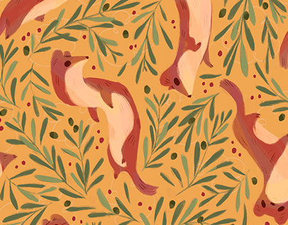 Stoats and Olive Pattern