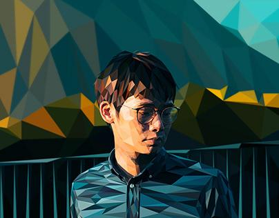 Low Poly portrait of a Korean men