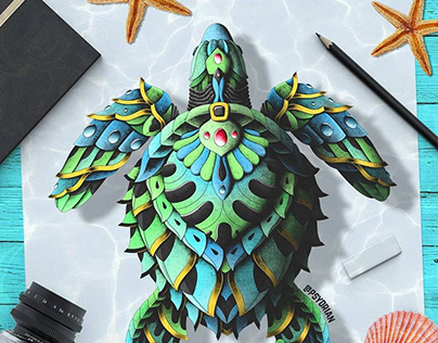 Ornate Sea Turtle