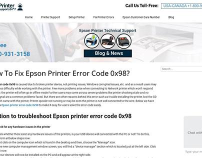 Epson Printer Error Code 0x98